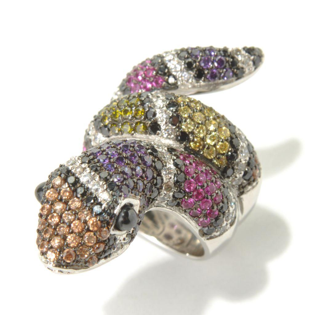 130-879 - Neda Behnam Platinum Embraced™ 4.86 DEW Multi Color Simulated Diamond Snake Ring