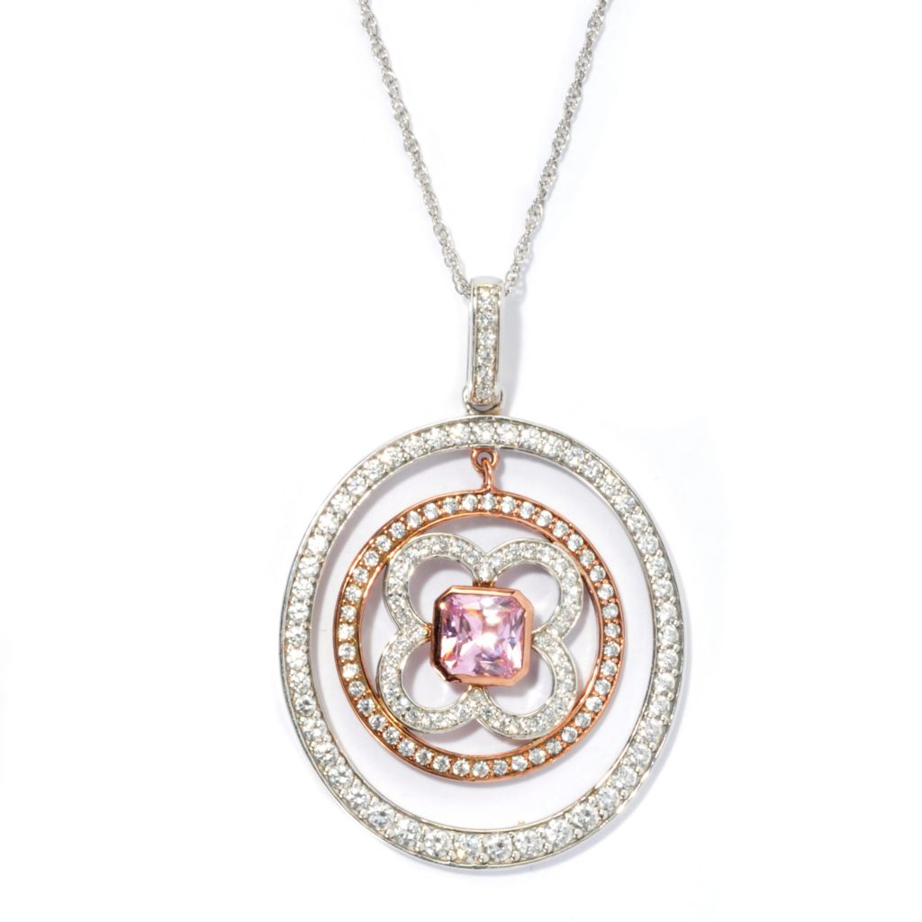 130-883 - Dare to Rare™ by Lucy Two-tone 2.67 DEW Pink Cushion Cut Simulated Diamond Flower Pendant