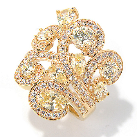 130-887 - Dare to Rare™ by Lucy Gold Embraced™ 3.44 DEW Simulated Diamond Swirl Ring
