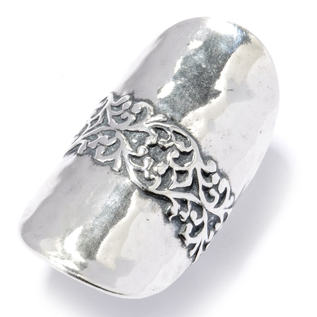 130-888 - Passage to Israel Sterling Silver Hammered & Filigreed Elongated Ring