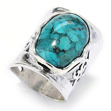 130-889 - Passage to Israel Sterling Silver 18 x 13mm Turquoise Cut-out Ring