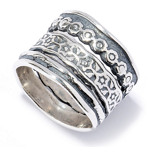 130-890 - Passage to Israel Sterling Silver Hammered Multi Texture Three-Row Ring
