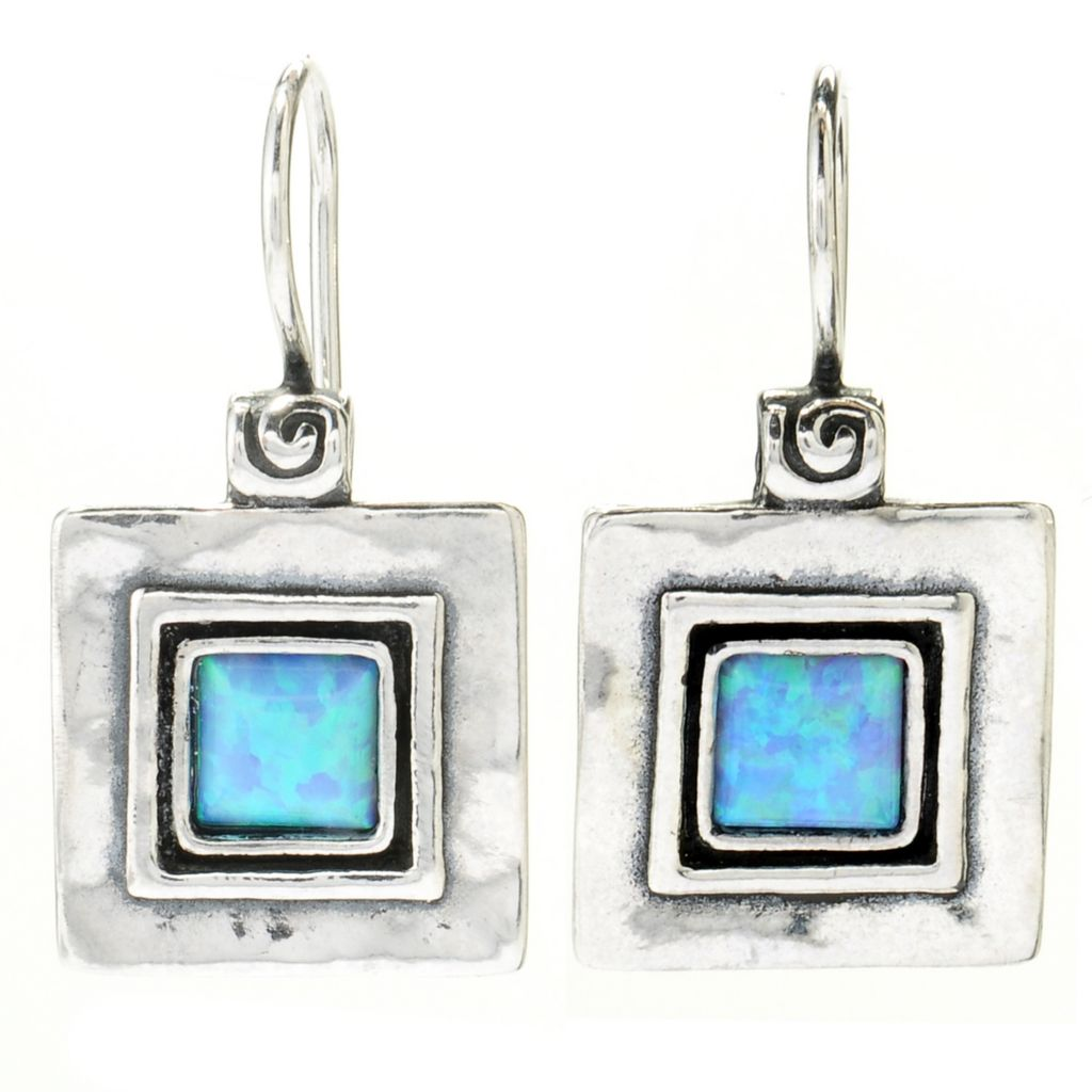 "130-892 - Passage to Israel Sterling Silver 1"" Square Gemstone Hammered Drop Earrings"