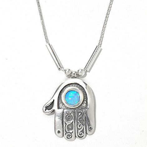 130-897 - Passage to Israel Sterling Silver 18'' Simulated Blue Opal Textured Hamsa Necklace