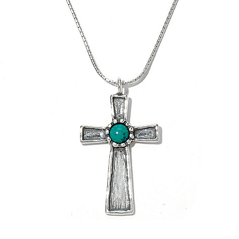 130-898 - Passage to Israel Sterling Silver 18'' Turquoise Cross Hammered Necklace