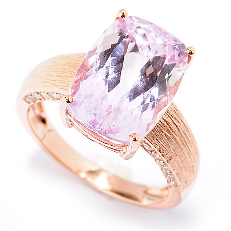 130-900 - Gem Treasures 14K Rose Gold 8.99ctw Cushion Kunzite & Diamond Brushed Ring