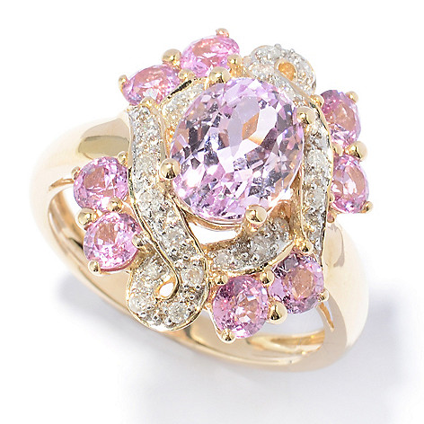 130-901 - Gem Treasures 14K Gold 4.22ctw Kunzite, Sapphire & Diamond Oval Ring