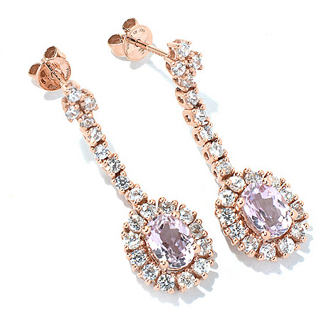 130-902 - Gem Treasures 14K Rose Gold 1.75'' 3.33ctw Kunzite & Zircon Drop Earrings