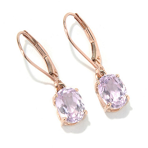 130-903 - Gem Treasures 14K Rose Gold 1'' 2.78ctw Oval Kunzite Earrings w/ Lever Backs