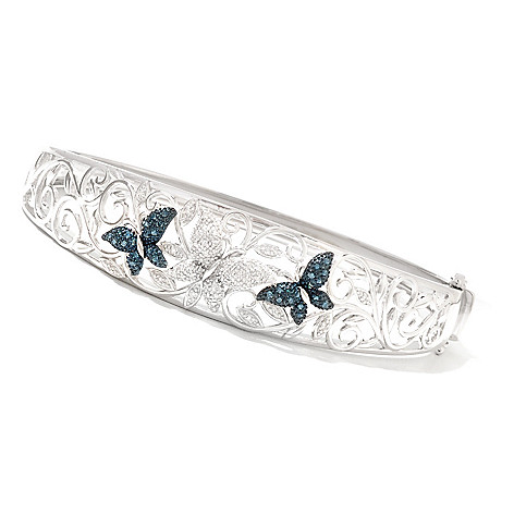 130-905 - Diamond Treasures Sterling Silver 0.33ctw Blue & White Diamond Butterfly Bangle