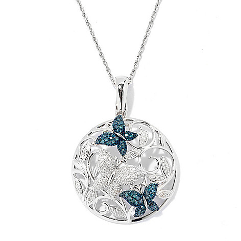 130-906 - Diamond Treasures Sterling Silver 0.33ctw Blue & White Diamond Butterfly Pendant w/ Chain
