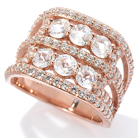 130-911 - Dare to Rare™ by Lucy 2.98 DEW Rose Cut Simulated Diamond Multi Row Ring