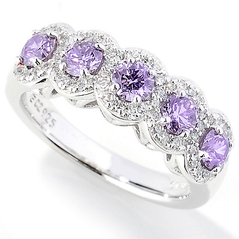130-912 - Dare to Rare™ by Lucy Platinum Embraced™ 1.15 DEW Simulated Diamond Round Halo Ring