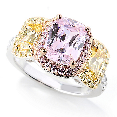 130-916 - Dare to Rare™ by Lucy 4.17 DEW Canary & Pink Simulated Diamond Three-Stone Ring
