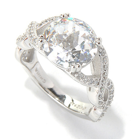 130-917 - Dare to Rare™ by Lucy Platinum Embraced™ 4.36 DEW Simulated Diamond Twisted Shank Ring