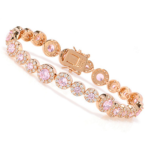 130-919 - Dare to Rare™ by Lucy Rose Gold Embraced™ Pink & White Simulated Diamond Halo Bracelet