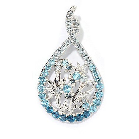 130-947 - Gem Treasures Sterling Silver 2.04ctw Multi Blue Topaz Floral Enhancer Pendant