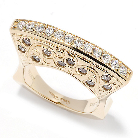 131-011 - Sonia Bitton 18K Gold Embraced™ Simulated Diamond East-West Euro Shank Ring
