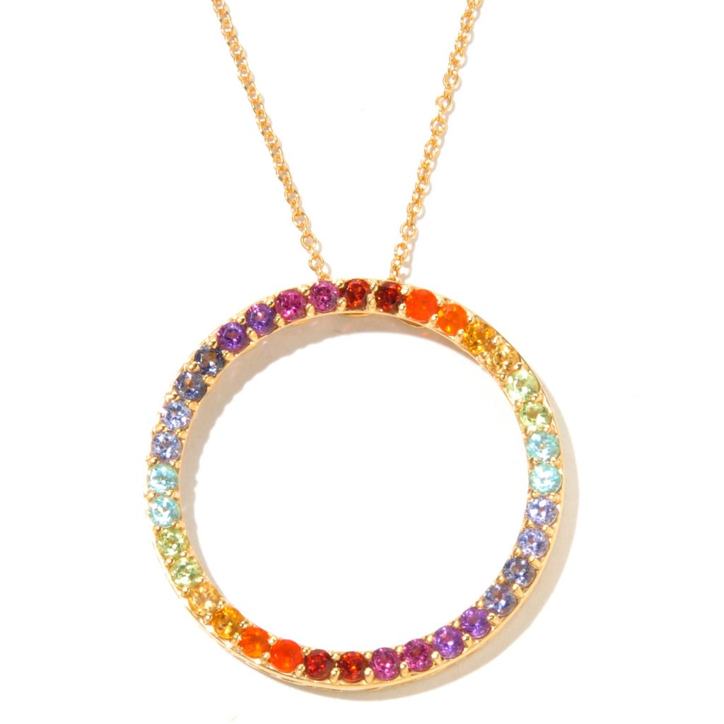 131-015 - NYC II 2.12ctw Multi Gemstone Exotic Rainbow Infinity Circle Pendant w/ Chain