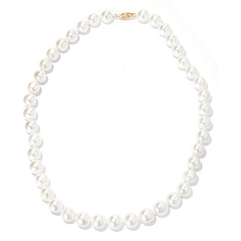131-023 - 14K Gold 18'' 9-10mm Round White Freshwater Cultured Pearl Necklace