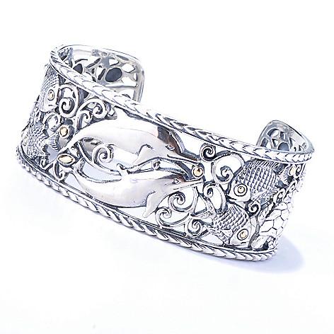 131-029 - Artisan Silver by Samuel B. 6.75'' Sea Life Cuff Bracelet, 45.48 grams