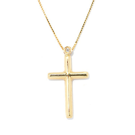 131-048 - Viale18K® Italian Gold 18'' Diamond Cross Necklace