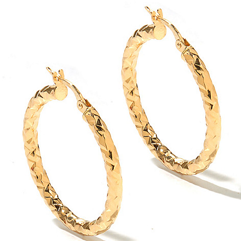 131-050 - Viale18K® Italian Gold 1'' Hammered & Diamond Cut Hoop Earrings