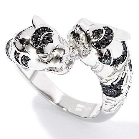 131-056 - NYC II Black Spinel Double Panther Polished Ring