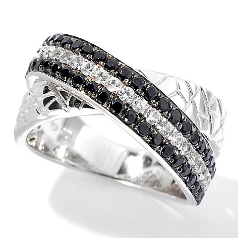 131-057 - NYC II 1.46ctw Black Spinel & White Zircon Animal Print Textured Band Ring
