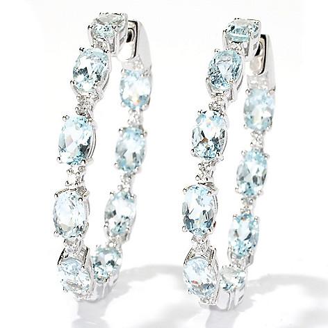 131-064 - NYC II 1.5'' 8.34ctw Aquamarine & White Zircon Inside-Out Hoop Earrings