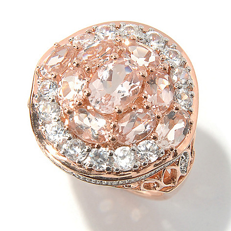 131-066 - NYC II 3.91ctw Morganite & White Zircon Ring