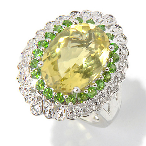 131-067 - NYC II 5.86ctw Ouro Verde, Chrome Diopside & White Zircon Halo Ring