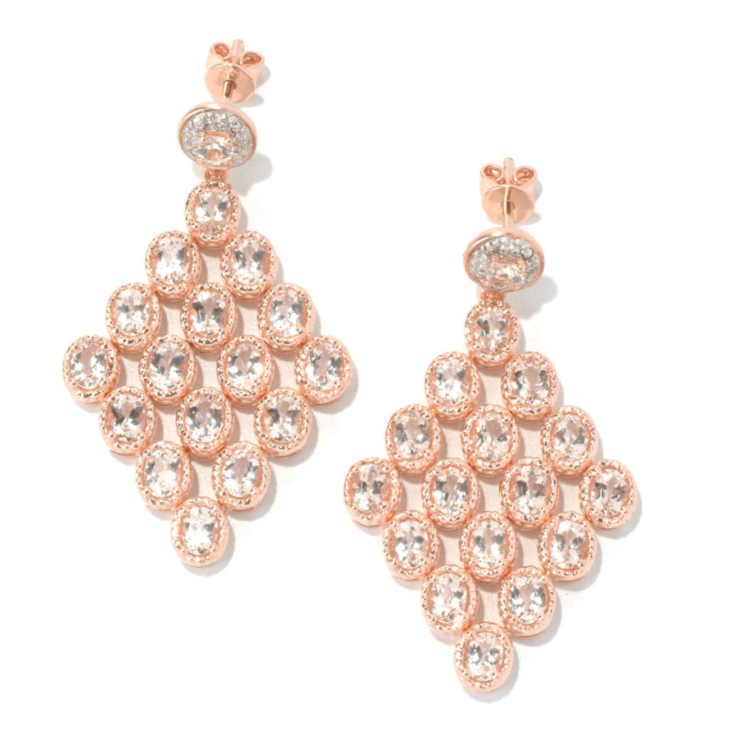 "131-068 - NYC II 1.75"" 5.29ctw Morganite & White Zircon Chandelier Earrings"