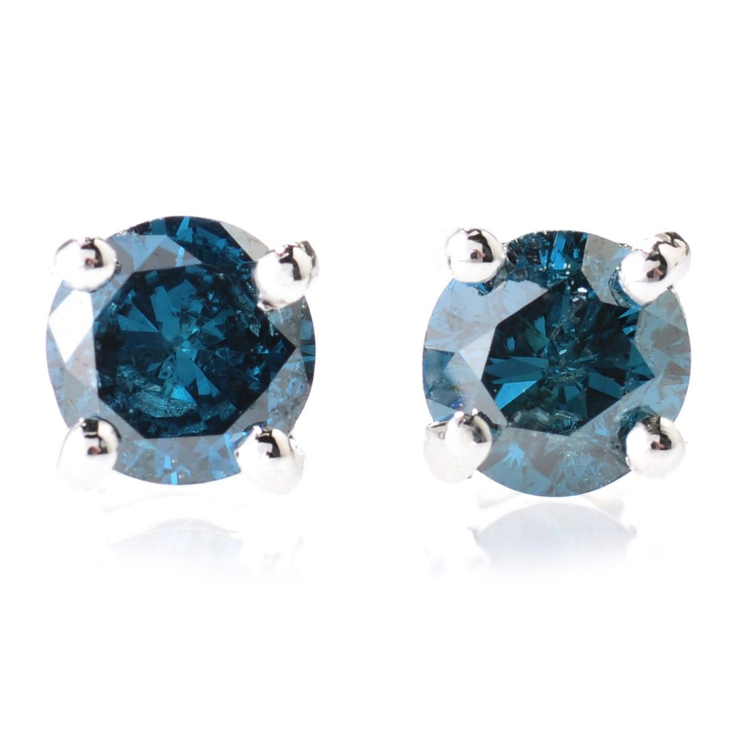 131-073 - Diamond Treasures Sterling Silver 0.33ctw Fancy Color Diamond Stud Earrings