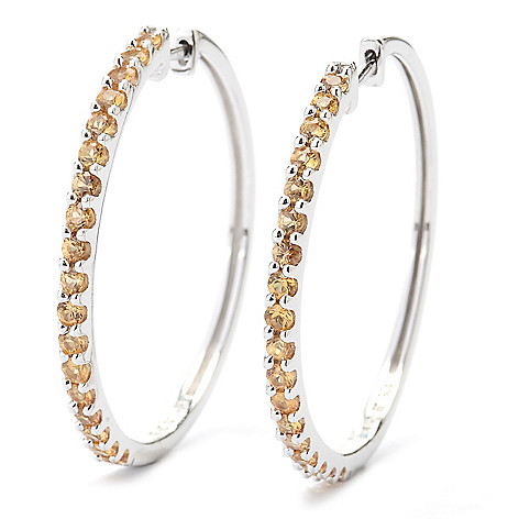 131-078 - Gem Treasures® Sterling Silver 1.50ctw Fancy Color Sapphire Hoop Earrings