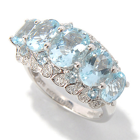 131-081 - NYC II 3.25ctw Aquamarine & White Zircon Ring
