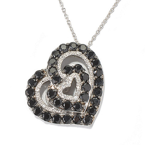 131-083 - NYC II Black Spinel & White Zircon Heart Pendant w/ 20'' Chain