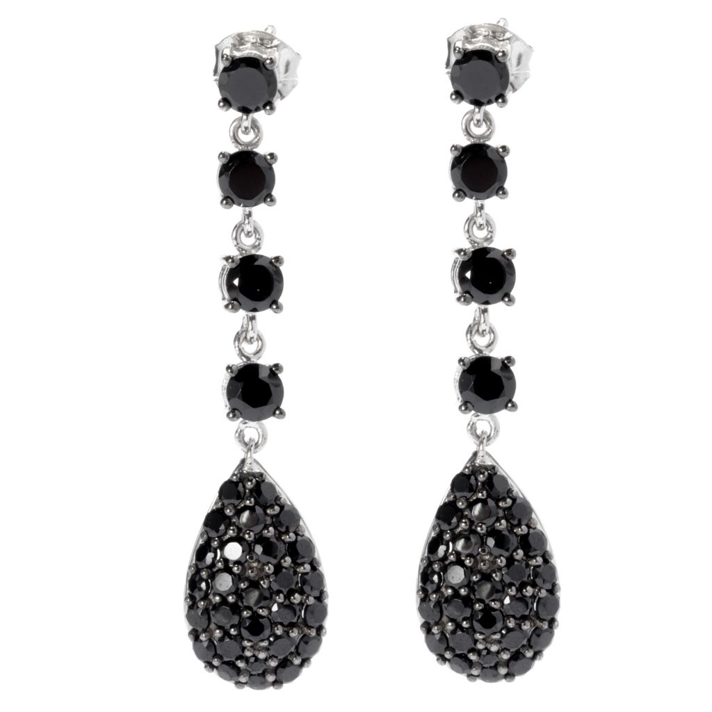 "131-084 - NYC II 1.75"" Black Spinel Elongated Drop Earrings"