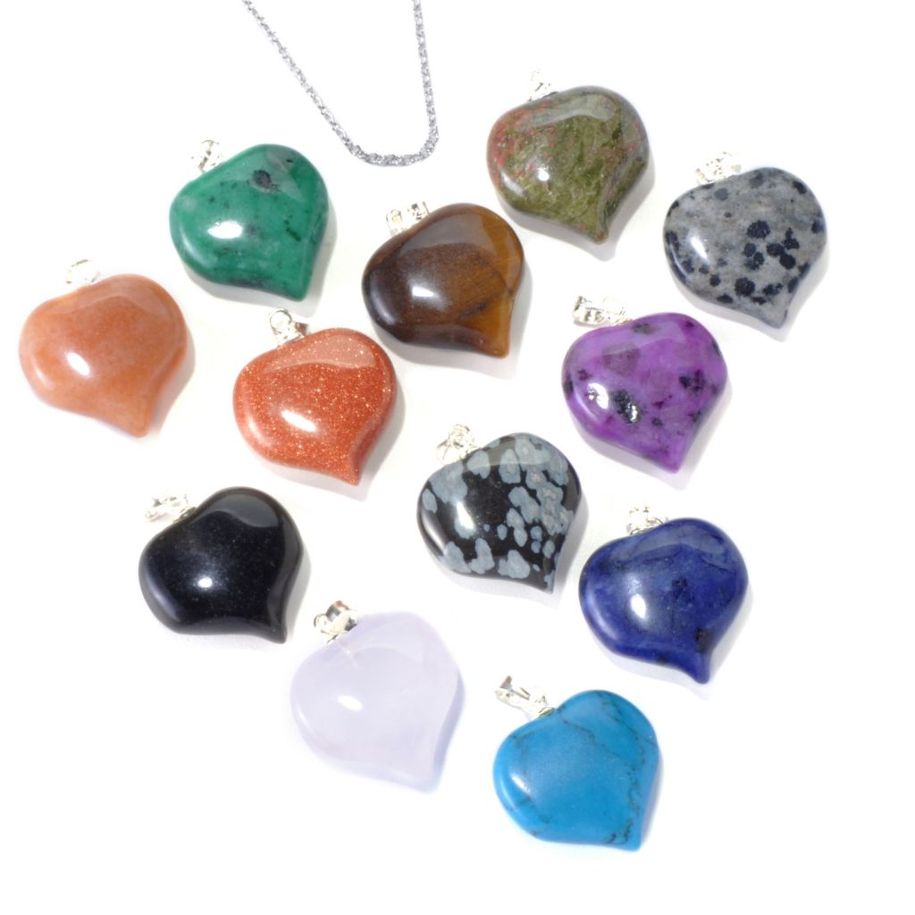 131-087 - Gem Insider Set of 12 Sterling Silver 12.75ctw Gemstone Heart Pendant