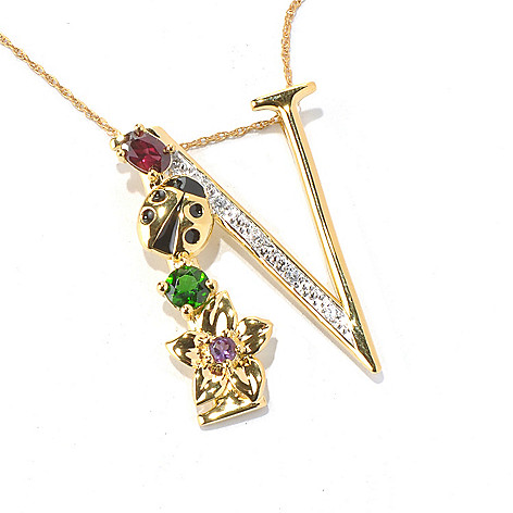 131-089 - NYC II Multi Gemstone ''Tucson Flower'' Initial Pendant w/ 20'' Chain