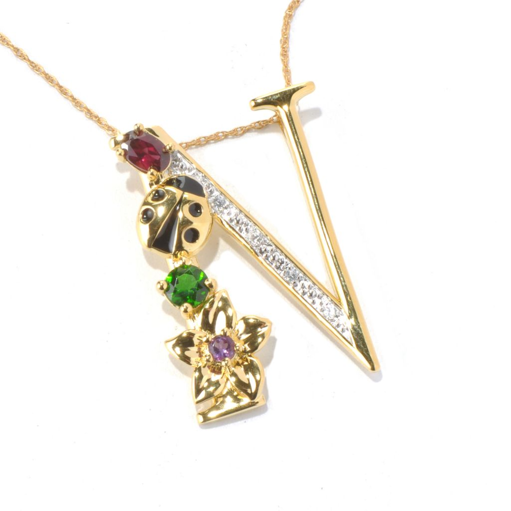 "131-089 - NYC II Multi Gemstone ""Tucson Flower"" Initial Pendant w/ 20"" Chain"