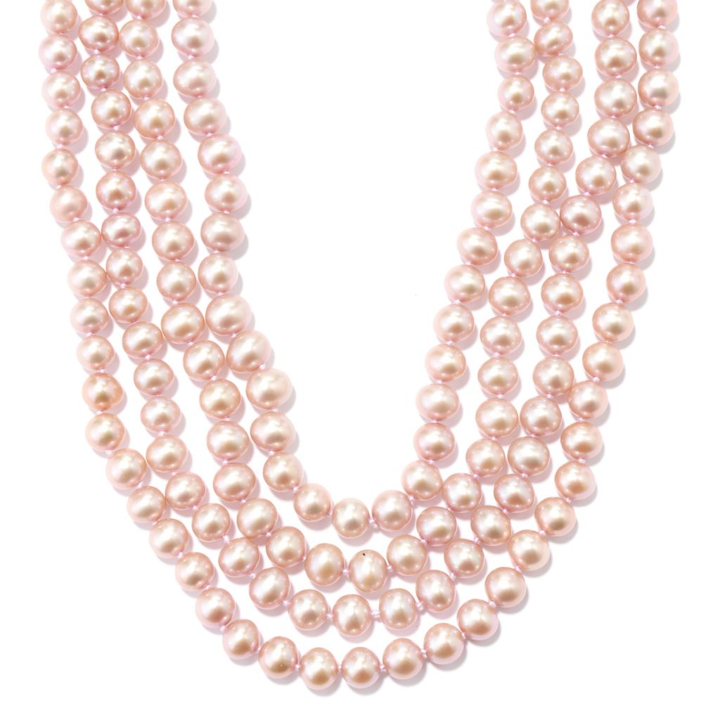 "131-092 - 100"" 7-8mm Dyed Pink Freshwater Cultured Pearl Endless Necklace"
