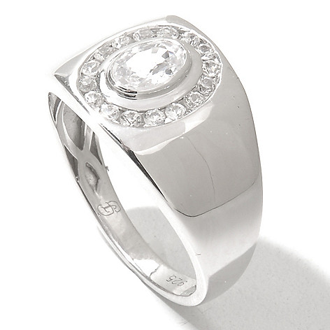 131-098 - Gem Treasures Men's Sterling Silver White Sapphire Halo Ring