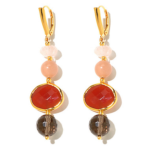 131-105 - Gems of Distinction 2.25'' Beaded Multi Gemstone Drop Earrings