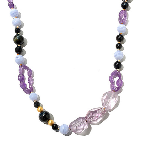 131-110 - Gems of Distinction 24'' Amethyst, Tiger's Eye & Blue Lace Agate Beaded Necklace