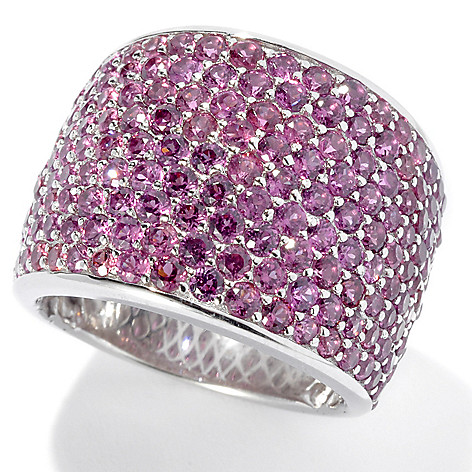 131-119 - Gem Treasures Sterling Siver 3.60ctw Pink Rhodolite Pave Wide Band Ring