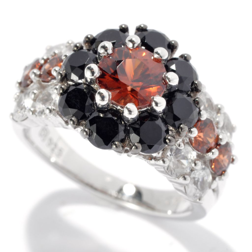 131-126 - Gem Insider Sterling Silver 3.39ctw Spinel, Mocha & White Zircon Flower Ring