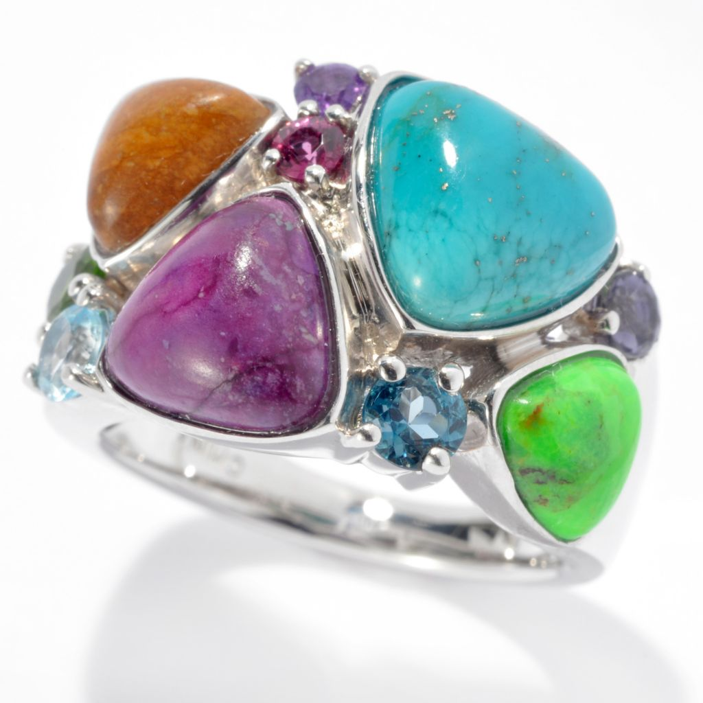 131-131 - Gem Insider Sterling Silver Turquoise & Multi Gemstone Wide Cluster Ring