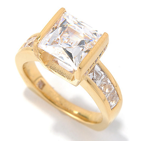 131-132 - TYCOON 4.92 DEW Simulated Diamond Kissing Stones Square Shank Ring