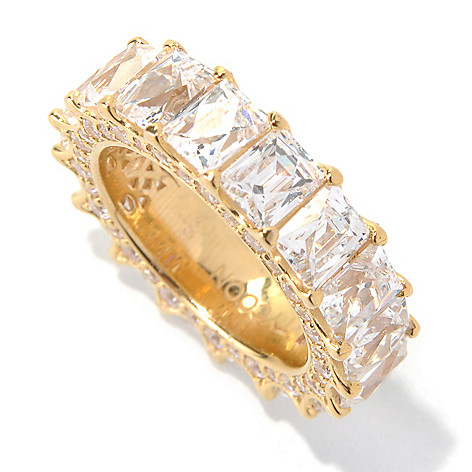 131-133 - TYCOON 9.37 DEW Rectangle Cut Simulated Diamond Eternity Band Ring